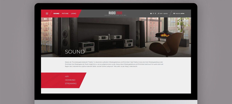 Webseite Relaunch für Audio 2000 aus Wuppertal - Unterseite Beispiel