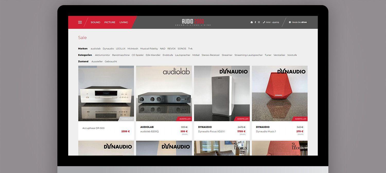 Webseite Relaunch für Audio 2000 aus Wuppertal - Online Produktkatalog Beispiel