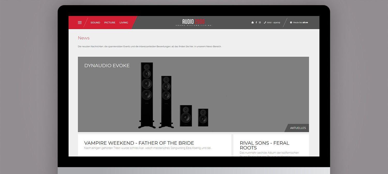 Webseite Relaunch für Audio 2000 aus Wuppertal - Hersteller Unterseite Beispiel
