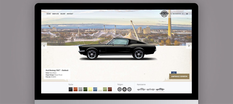 Create your Mustang Webseite Erstellung  - Autoillustration Beispiel