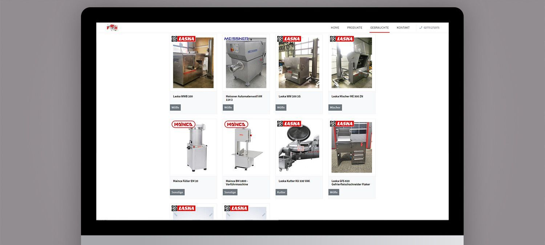 Webseite Entwicklung für FMH Müller - Produktkatalog Beispiel