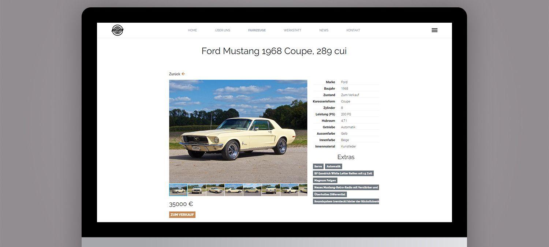 Webseite Relaunch für einen Autorestaurator aus München - Autounterseite Beispiel