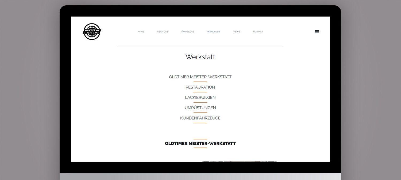 Webseite Relaunch für einen Autorestaurator aus München - Menu Beispiel