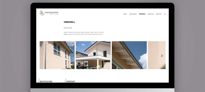 Webseite Relaunch für Malerfachbetrieb - Projektunterseite Beispiel