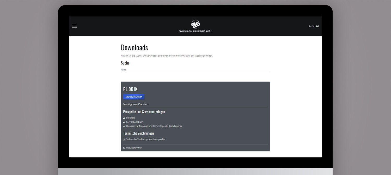 Webseite Relaunch für ME Geithain - Suchfunktion Beispiel