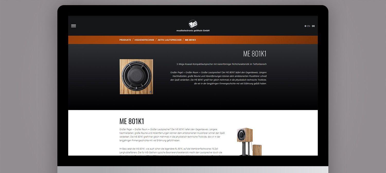 Webseite Relaunch für ME Geithain - Produktseite Beispiel