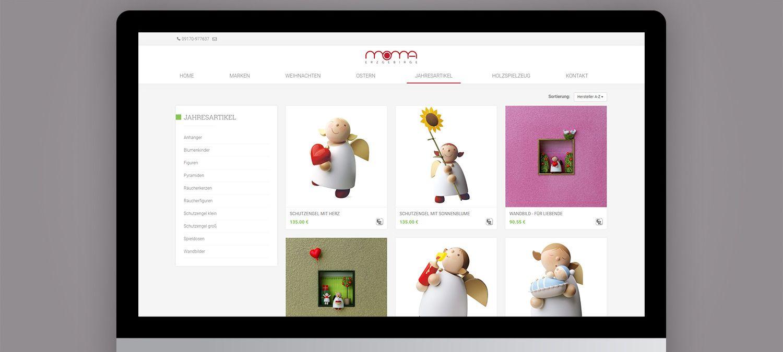 Webseite Entwicklung für Moma Erzgebirge aus Nürnberg - Online Produktkatalog Beispiel