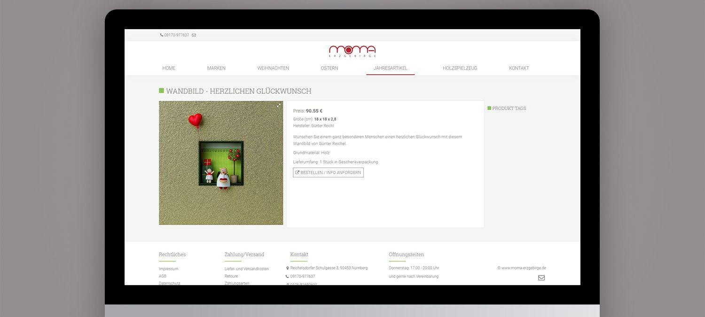 Webseite Entwicklung für Moma Erzgebirge aus Nürnberg - Produktunterseite Beispiel