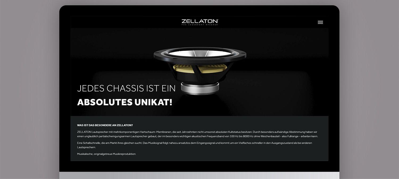 Einzigartige Webseite für Zellaton aus München - 3D Animation für Webseite Beispiel