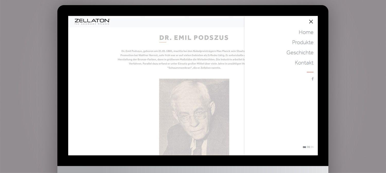 Einzigartige Webseite für Zellaton aus München - Menunavigation Beispiel