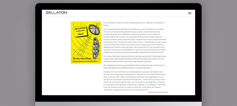 Einzigartige Webseite für Zellaton aus München - Unterseite Beispiel