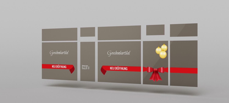 Geschenkartikelladen Schaufenster Design