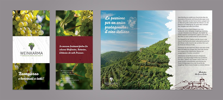 Flyer Design und Druck für Weinkarma Weinhandel - Flyer Design Beispiel