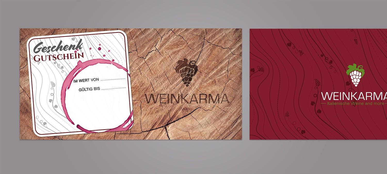 Gutschein Design und Druck für Weinhandel aus Rott am Inn - Gutschein Design Beispiel